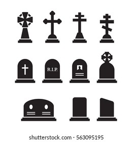 Grave icons set. Black on a white background