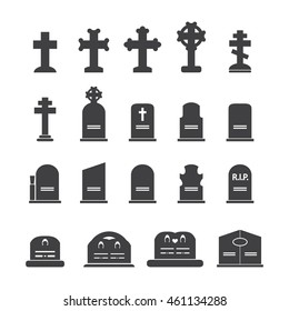 Grave icons set. Vector illustration.