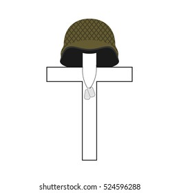 Grave of soldier. Cross and military helmet. Soldiers badge. Patriotic memorial illustration
