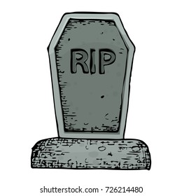 Grave with a tombstone, colorful scary Halloween sketch illustration. Vector