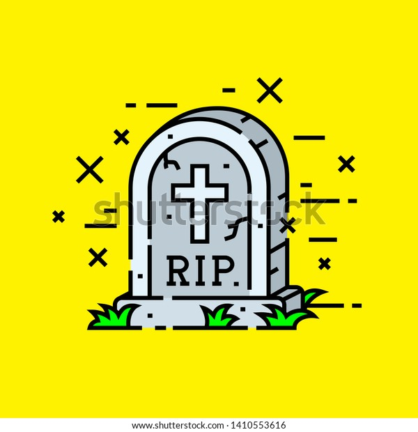 Gravestone cemetery icon. RIP tombstone symbol. Graveyard headstone with cross isolated on yellow background. Vector illustration.