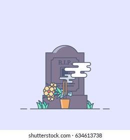 Gravestone Flower Line Minimal Style Vector Illustration