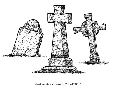 Gravestone illustration, drawing, engraving, ink, line art, vector