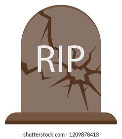 Gravestone Isolated Color illustration Icon special use for Halloween