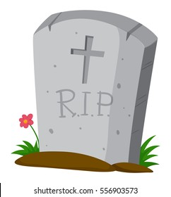 Gravestone on the ground illustration