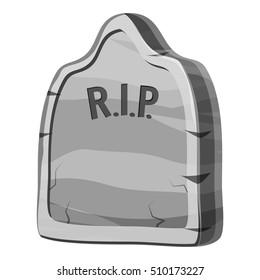 Gravestone with RIP text icon. Gray monochrome illustration of gravestone with RIP text cauldron vector icon for web