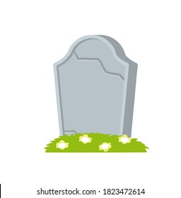Gravestone or tombstone. Element of Halloween and death. Grave in cemetery. Funeral and burial. Old Stone with crack with flower. Flat cartoon isolated illustration