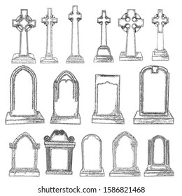 Gravestones set drawing. Old tomb rip grave on white background. Marble cemetery stone. Christian symbol of death. Vector.