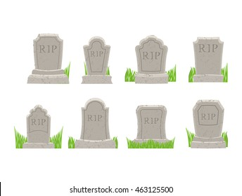Gravestones set. Old Tomb Collection. Ancient RIP. Grave on white background