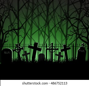 Graveyard cemetery tomb in forest, Halloween background, vector illustration