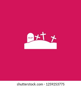 Graveyard icon vector. Graveyard sign on pink background. Graveyard icon for web and app