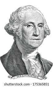 Gravure of George Washington (vector) in front of the old one dollar banknote