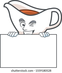 Gravy boat cartoon character with mascot squinting with board.