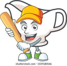 Gravy boat cartoon character with mascot playing baseball.
