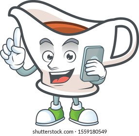 Gravy boat cartoon character with mascot with holding phone.