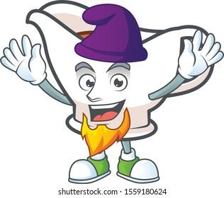 Gravy boat cartoon character with mascot elf.