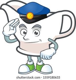 Gravy boat cartoon character with mascot police.