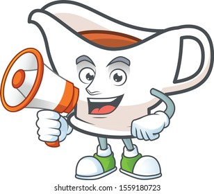 Gravy boat cartoon character with mascot with holding megaphone.