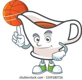 Gravy boat cartoon character with mascot holding basketball.