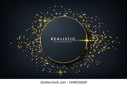 Gray abstract dimension on dark textured background. Realistic overlap layers texture with golden lights and golden glitters element decoration.