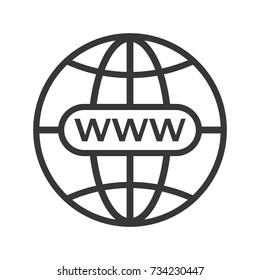Gray address http icon isolated. Modern simple flat globe sign. Business internet concept. Trendy social vector network www symbol for web site design, SEO, or button to mobile app. Logo illustration