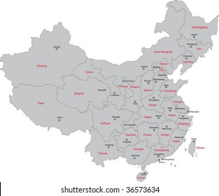 Gray administrative divisions of China with capital cities