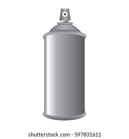 Gray Aerosol Spray Metal 3D Bottle Can vector illustration