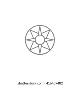 Gray ancient symbol icon Star of Ishtar vector illustration