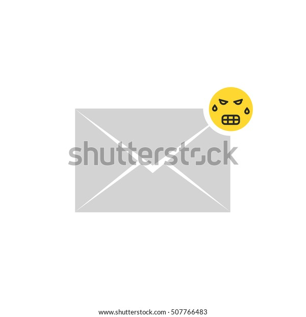 Gray Angry Message Letter Icon Emoji Stock Vector (Royalty Free