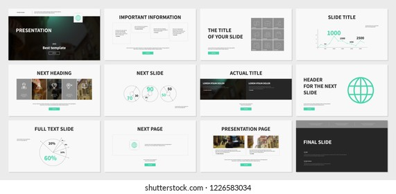 Gray and Aquamarine elements on a white background. This template is the best as a business presentation, used in marketing and advertising, the annual report, flyer and banner