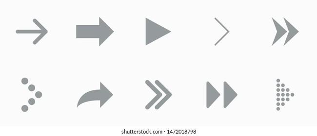 Gray arrow icon on white background, vector illustration
