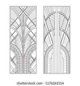 Gray art deco panels isolated on white background