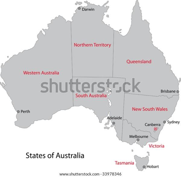 Australia Map With Main Cities.Gray Australia Map Regions Main Cities Stock Vector Royalty Free