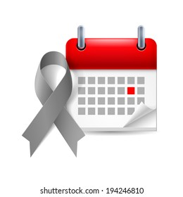 Gray awareness ribbon and calendar with marked day. Diabetes, asthma, brain cancer symbol