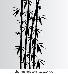 Gray background with black bamboo and lines