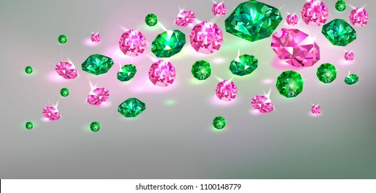 Gray background with many scattered green and pink gems. Vector illustration.