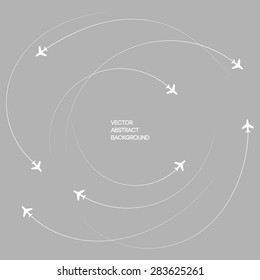 Gray background. the plane. the sky. circular movement
