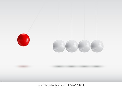 gray balls and the red one, Newton's cradle, vector eps 10 illustration