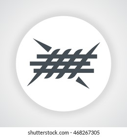 Gray barbed wire icon circle vector on  white background