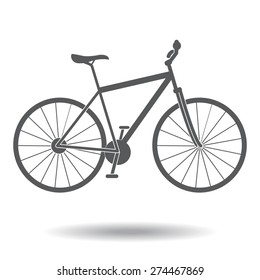 gray Bicycle icon with shadow