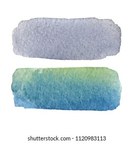 Gray black blue watercolor smear ink hand drawn paper texture isolated striped vector stain on white background. Abstract wet brush paint strokes artistic design element for banner