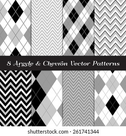 Gray, Black and White Argyle and Chevron Patterns. Modern Neutral Color Backgrounds. Vector EPS File Includes Pattern Swatches Made with Global Colors.