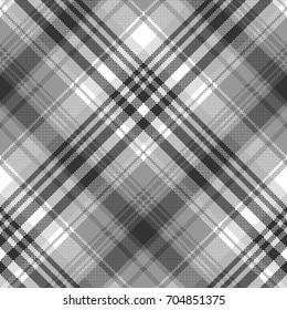 Gray black white pixel check plaid seamless pattern. Vector illustration.