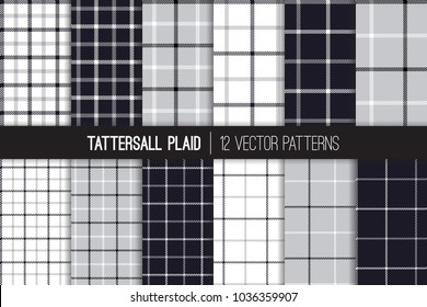 Gray, Black and White Tattersall & Windowpane Plaid Vector Patterns. Men's Fashion Fabric. Father's Day Background. Small to Large Scale Check Textile Prints. Repeating Pattern Tile Swatches Included.
