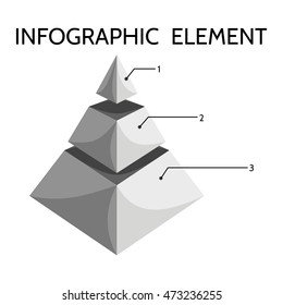 Gray black white three-tiered pyramidal chart with inscription Infographic element