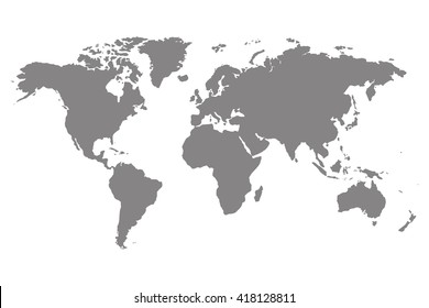 Gray blank vector world map. Isolated on white background.