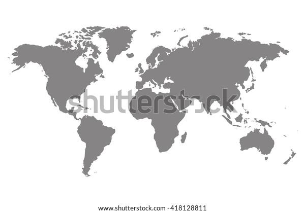 Серая пустая векторная карта мира. Изолированные на белом фоне.