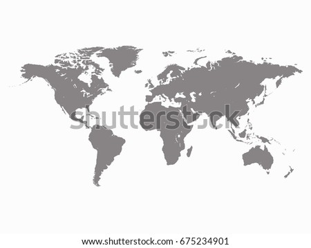 Gray Blank Worldmap Vector Template High Quality