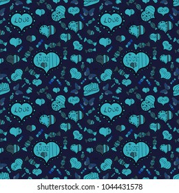 Gray, blue, black. Perfect design element for wallpaper, textile, wedding invitation. Festive love background. Vector. Seamless pattern Beautiful handdrawn seamless with hearts. Happy Valentine':s Day