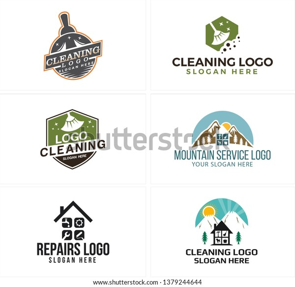 Gray Blue Green Line Art Badge Stock Vector (Royalty Free